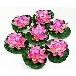 hilingo 7Pcs Artificial Floating Foam Lotus Flower Pond Decor Water Lily (Pink) 30