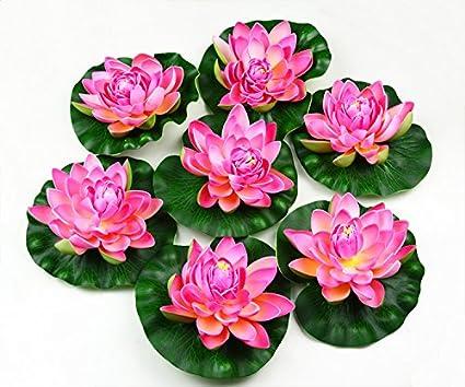 Amazoncom Hilingo 7pcs Artificial Floating Foam Lotus Flower Pond