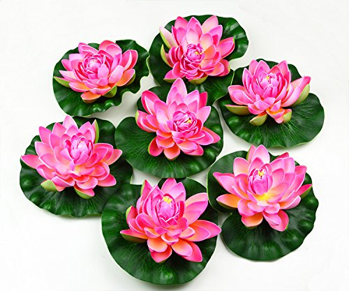 hilingo 7Pcs Artificial Floating Foam Lotus Flower Pond Decor Water Lily (Pink) ()