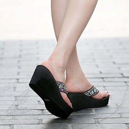 PENGFEI EU37 UK5 Hembra Exterior Claro 235 Clip 4 Tamaño Pantofola US6 Colores Verano Playa Estudiante Zapatillas Color 5 Negro Moda Cuña De Punta Azul Ropa pqPrfpR