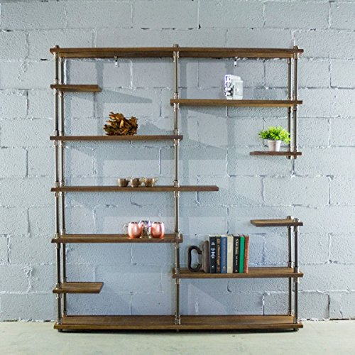 Furniture Pipeline Nashville Industrial Aluminum Pipe Mid Century Etagere Display Case Shelf Bookcase (Light Brown Stained ()