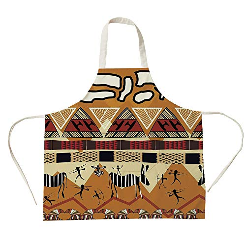 3D Printed Cotton Linen Big Pocket Apron,Primitive,Tribal Ethnic African Hunting Zebra Spear and Arrow Prehistoric Tribe Life Theme,Ruby Mustard,for Cooking Baking Gardening