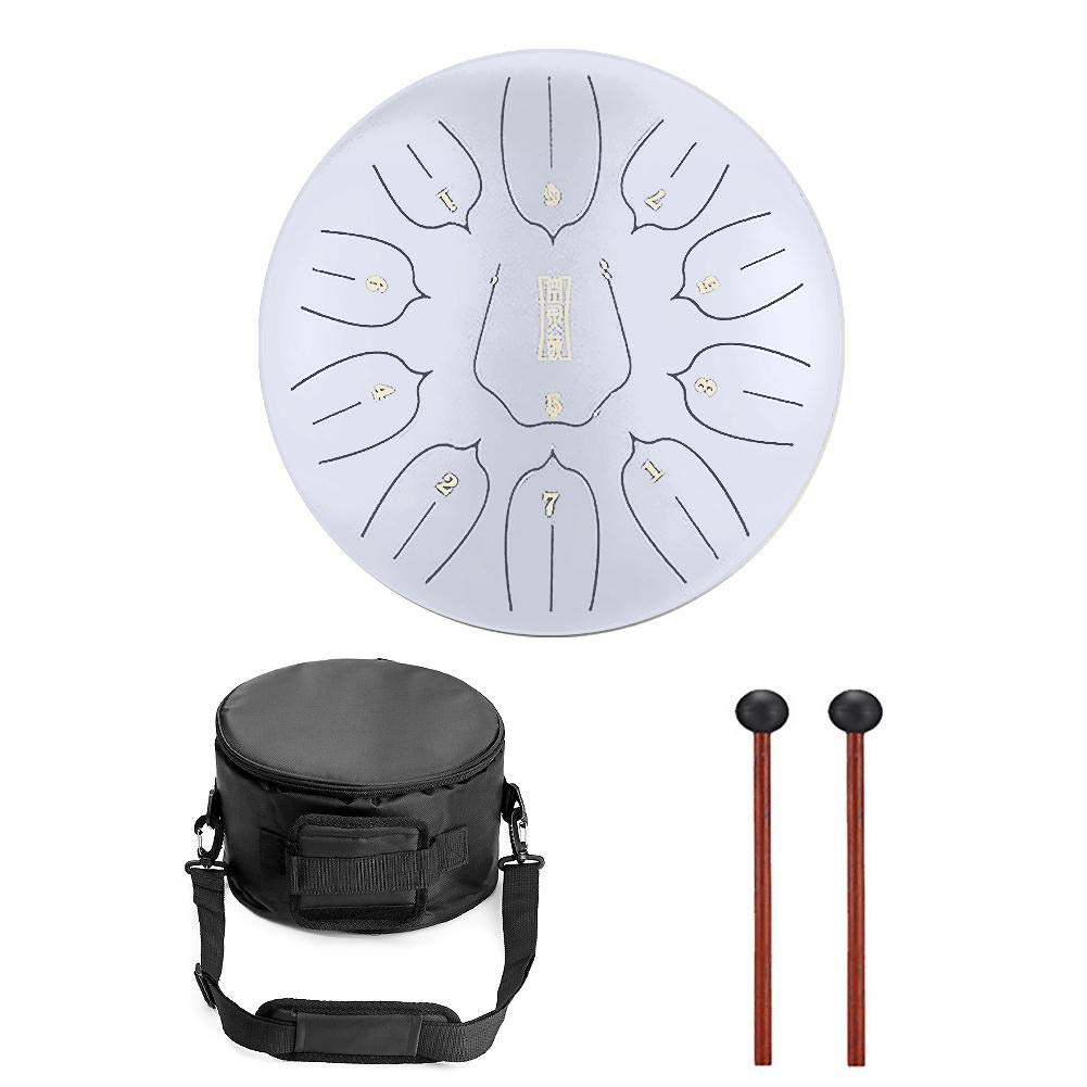 Niome 12 Inch Steel Tongue Drum 11 Notes Black w/Travel Bag and Mallets,Tank Drum Chakra Drum,Percussion Hang Drum Instrument by Niome