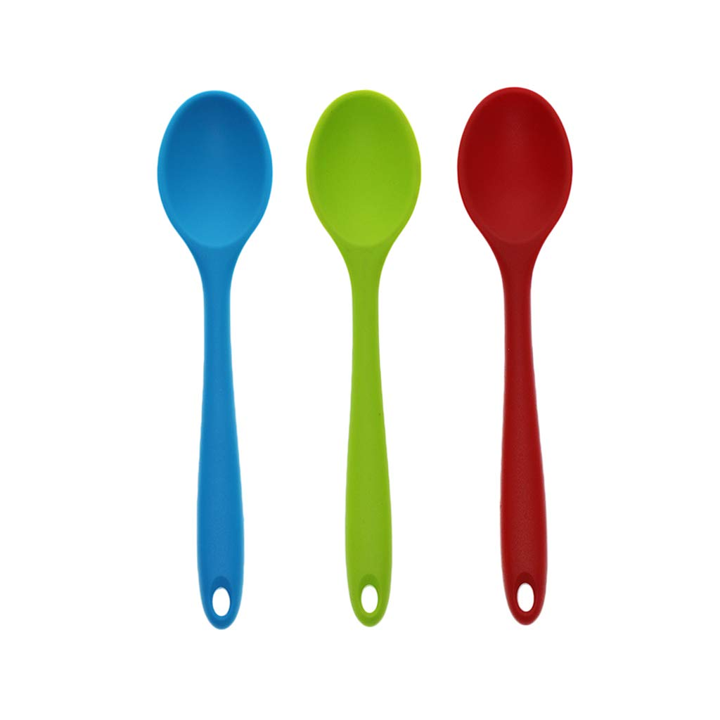 Fityle 3pcs Silicone Mini Soup Spoon Tablespoon, 20.5cm,Green&Pink&Blue
