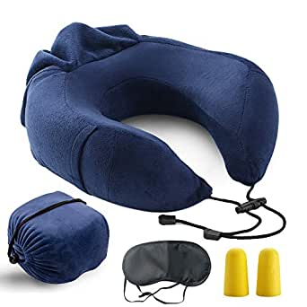 Bloodyrippa Ergonomic Travel Pillow, Memory Foam Neck Support, Adjustable Tightness, Ideal for Flights, Driving, Also Come with Sleep Mask and Earplugs, Blue