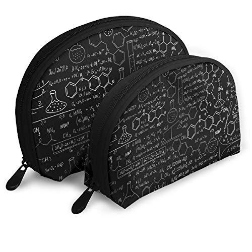 (Chemistry Blackboard Portable Half Moon Makeup Storage Bag Travel Waterproof Toiletry Bag Cosmetic Bag 2 Pack)