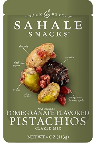 Sahale Snacks Pomegranate Flavored Pistachios Glazed Mix, 4 oz., Pack of 6 – Nut Snacks in a Resealable Pouch, No Artificial Flavors, Preservatives or Colors, Gluten-Free Snacks