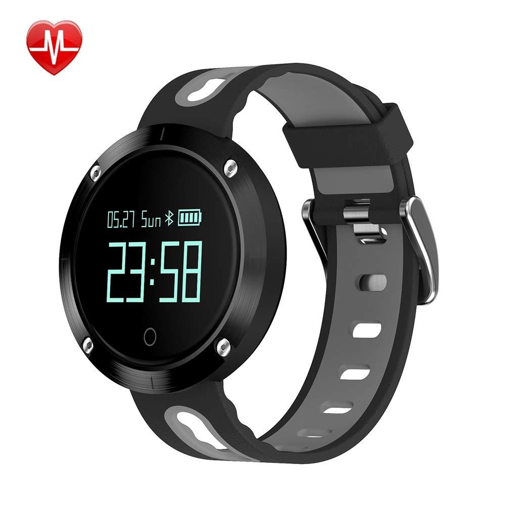 フィットネストラッカー心拍数血圧モニタースマートスポーツブレスレット防水 Bluetooth 時計情報表示歩数計アンドロイド/Ios の,Gray B07K9TGXYC