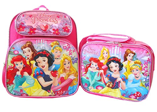 """Disney Princess Girl's 12"""" Backpack and Lunch Box"""