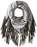 Mackage Women's Fida Wool Triangle Scarf with Leather Fringe, Grey, One Size