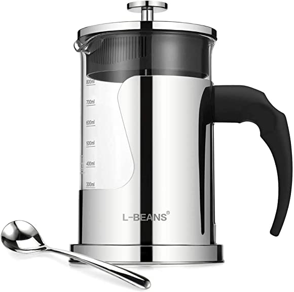 L-BEANS French Press Coffee Maker with High Borosilicate Glass and 304 Grade Stainless Steel 28 Oz for 6 Cups 800 ml French Press Coffee Machine