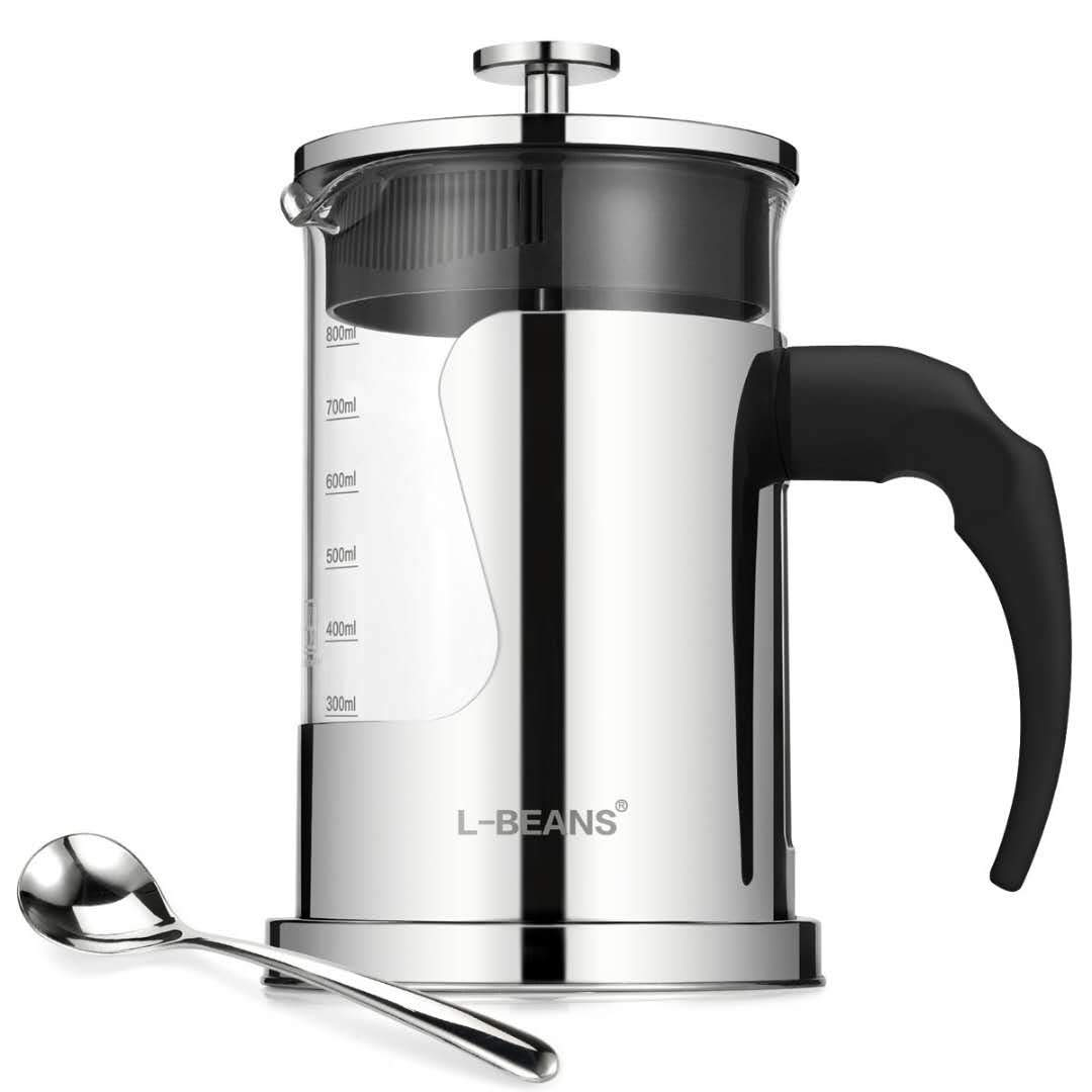 L-BEANS French Press Coffee Maker High Borosilicate Glass 304 Grade Stainless Steel 28 Oz 6 Cups 800 ml French Press Coffee Machine