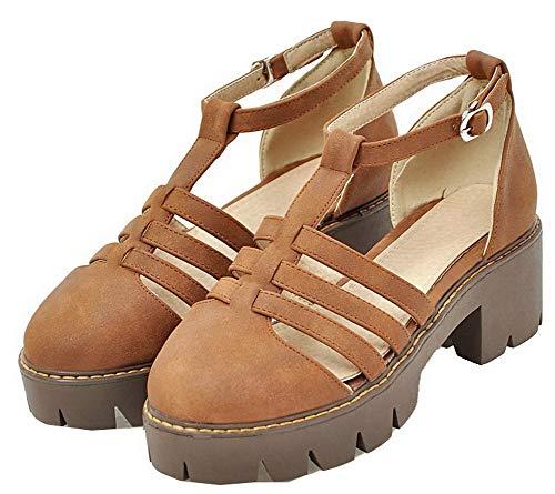 Luccichio Medio Flats Ballet Tacco FBUIDD010640 Marrone Puro Fibbia Donna AllhqFashion aW1gC