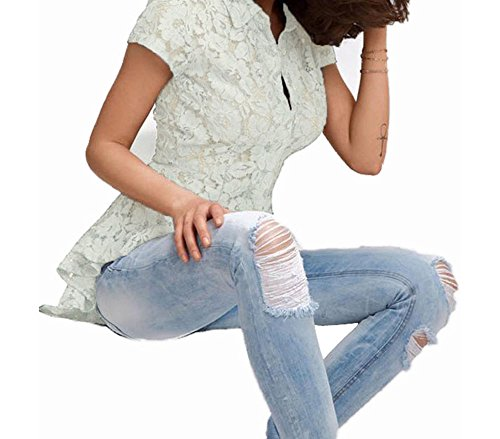 Christmas DH-MS Dress Women's Mermaid Tail Floral Lace Shirt White S - Cheapest Mermaid Tails