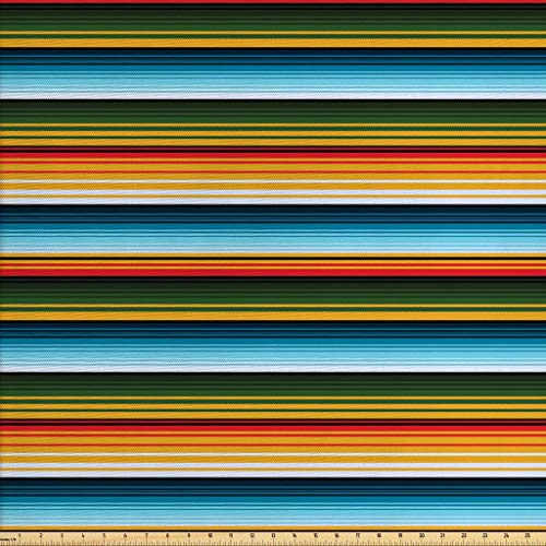 - Lunarable Striped Fabric by The Yard, Mexican Inspirations in Hand Made Horizontal Lines with Woven Ornamental Style, Decorative Fabric for Upholstery and Home Accents, 2 Yards, Multicolor