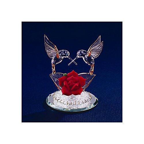 (Hummingbirds & Red Rose Glass Figurine)