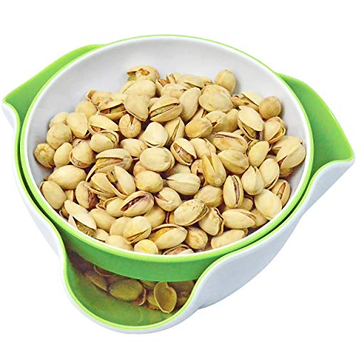 - Southern Homewares SH-10198 Double Dish Pedestal Serving Snack Dish For Peanuts Pistachios Cherries Edamame Fruits Candy Snacks, Green