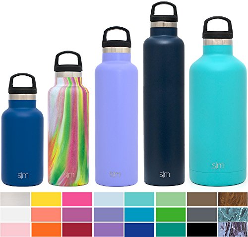 Simple Modern 20 oz Ascent Water Bottle - Vacuum Insulated Standard Mouth Sweat Free Fits Cup Holders 18/8 Stainless Steel Purple Swell Flask - Double Wall Hydro Travel Mug - Royal Raspberry Royal Bottle