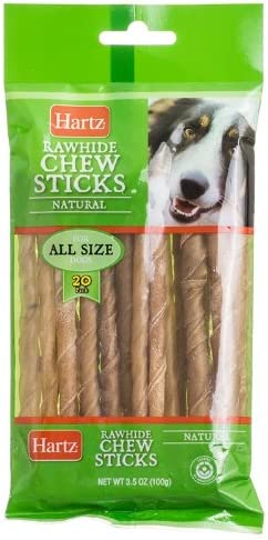 Hartz Rawhide Chew Sticks, Natural, 20-Count, Pack of 4