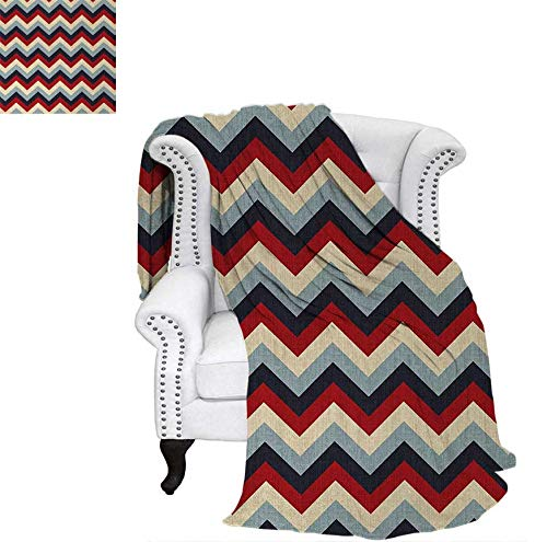 Joydad Chevron Throw Blanket Triangle Abstract Geometrical Detailed Retro Vintage Image Swaddle Blanket 60 x 50 inch Red Cream Navy Blue and Baby Blue