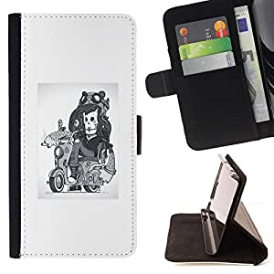 KingStore / Leather Etui en cuir / Samsung Galaxy A3 / Abstract Girl esquelético del motorista