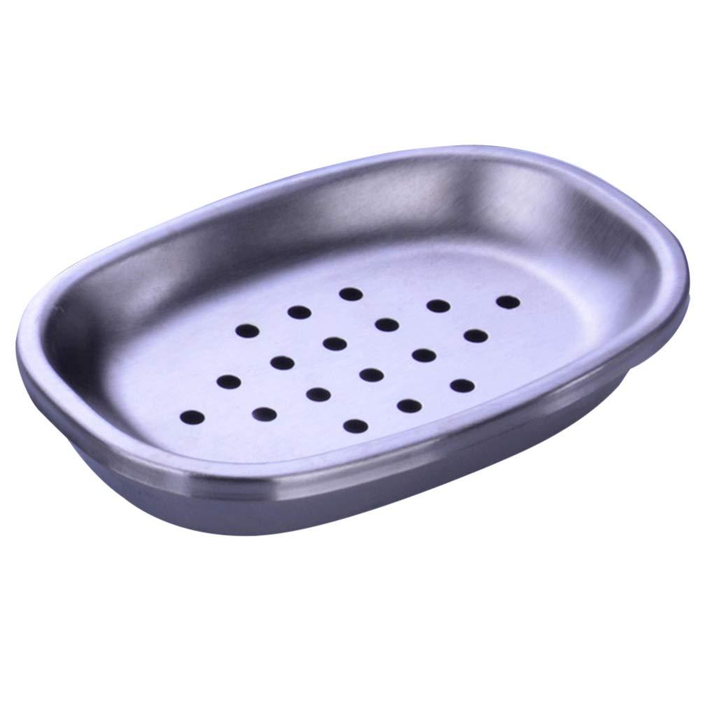 OUNONA Seifenschale Halter Doppelschicht Edelstahl Seifenschale Tray Abfluss Soap Box für Dusche Badezimmer(Oval Dot)