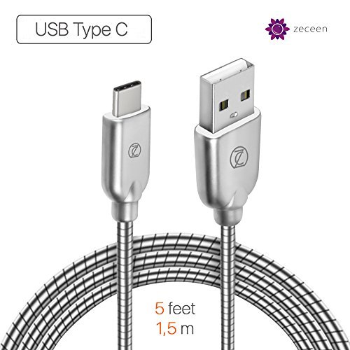 (ZECEEN Metal USB-A to USB-C Cable - Fast Charging & Data Transfer Cord (5 ft) - Almost Unbreakable - Bending & Weather Resistant - Compatible with any TYPE C Supported Devices)