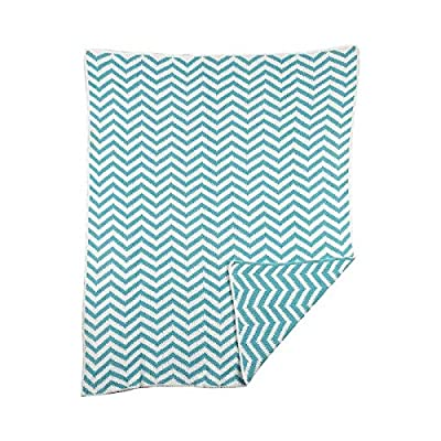 Lolli Living Chevron Chenille Blanket, Teal - Snuggly chenille construction Modern chevron design in fun color palette Machine washable - blankets-throws, bedroom-sheets-comforters, bedroom - 51BfbaQ1VUL. SS400  -