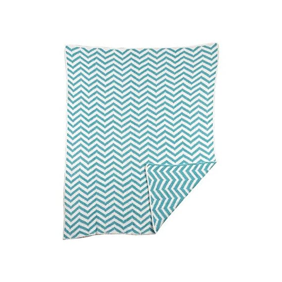 Lolli Living Chevron Chenille Blanket, Teal - Snuggly chenille construction Modern chevron design in fun color palette Machine washable - blankets-throws, bedroom-sheets-comforters, bedroom - 51BfbaQ1VUL. SS570  -