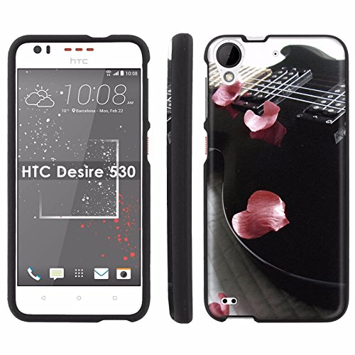 HTC Desire 530 [5-inch LCD] Phone Cover, Guitar Rose Petals - BLACK Slim Guard Armor Phone Case for HTC Desire 530 [5-inch ()