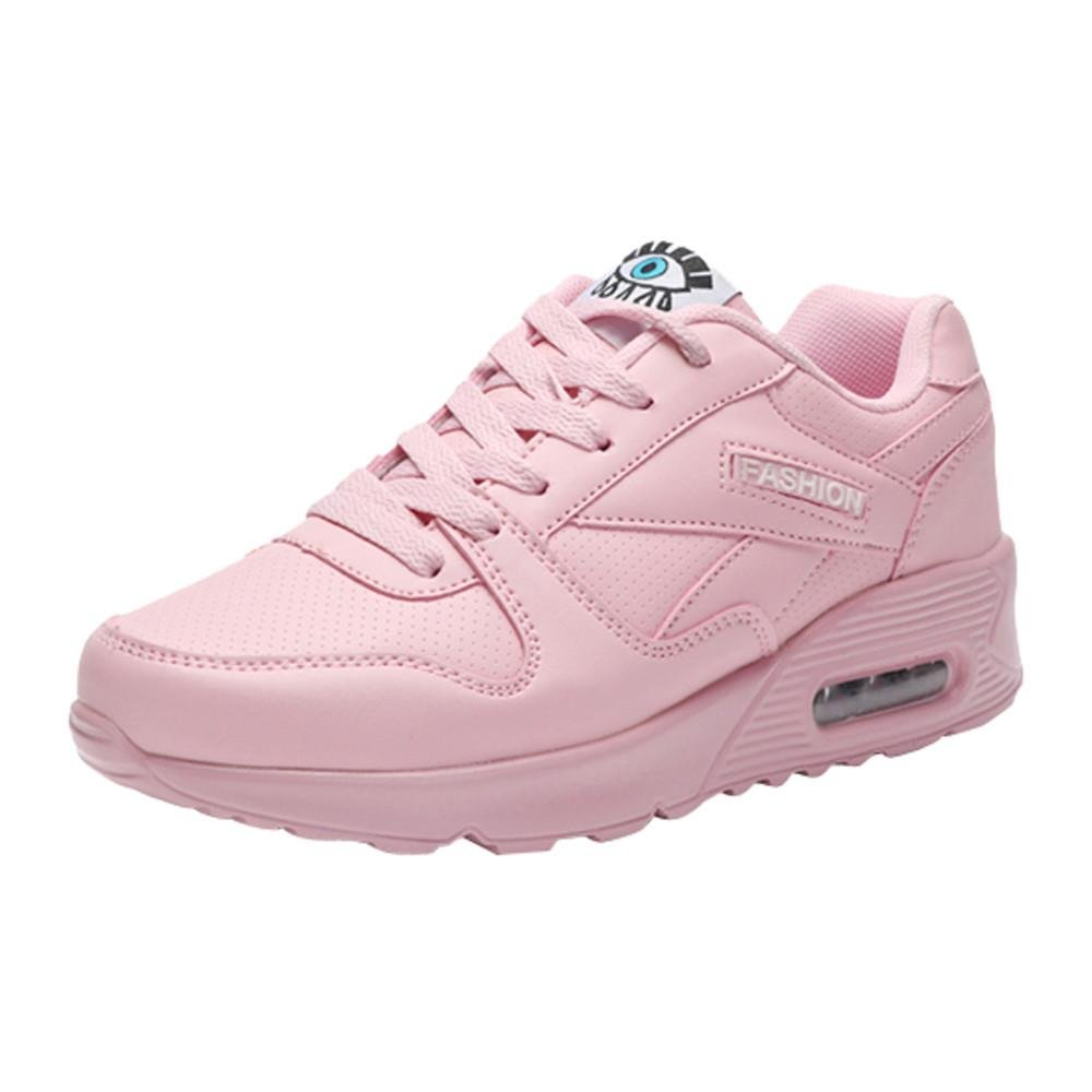 2018 Women Girls Shoes Casual Lightweight Wedges Sneakers for Outdoor Walking (Pink, US:8)