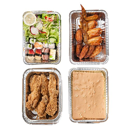 XIAFEI Disposable Durable Aluminum Rectangular Foil Pans, Take-Out Containers, Pack of 50 with PET Plastic Lids by XIAFEI (Image #5)