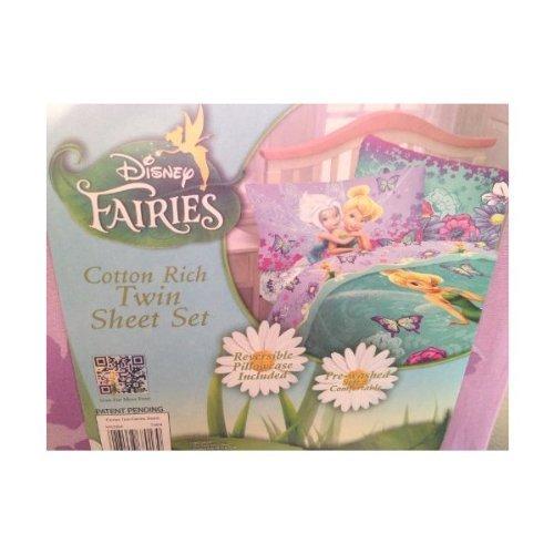 """Disney Fairies Tinker Bell """" Fairies Tink Fairies Sweet """" Twin Sheet Set Tinkerbell 3 Piece Sheets"""
