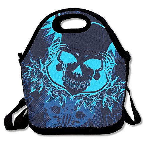 Blue Stripe Rambler Backpack (Blue Skull Portable Cooler Bag Lunch Picnic Tote Waterproof Bag For Women,Men, Adults, Kids Outdoor Travel)