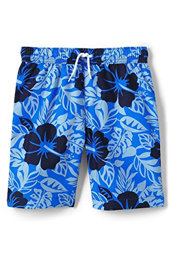 - Lands' End Boys Print Swim Trunks, M, Royal Blue Hibiscus Print