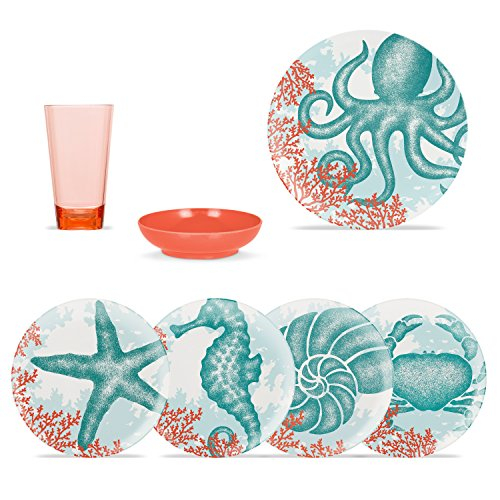 ThermoServ 16 Piece Melamine Dinnerware Set, Service for 4 - Sea Creatures (Dinnerware Coastal Melamine)