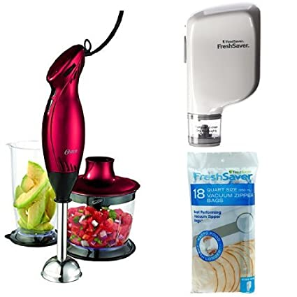 amazon com oster 2 speed immersion hand blender with food chopper