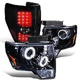 Ford F150 Glossy Black/Smoke Projector Halo LED Headlight+Tail Light