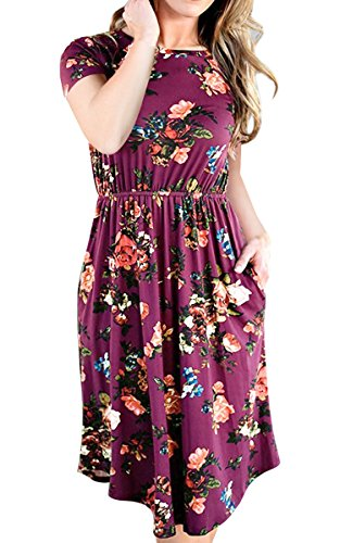 ECOWISH Womens Dresses Summer Floral Short Sleeve Elastic Waist Vintage Retro Midi Dress with Pockets