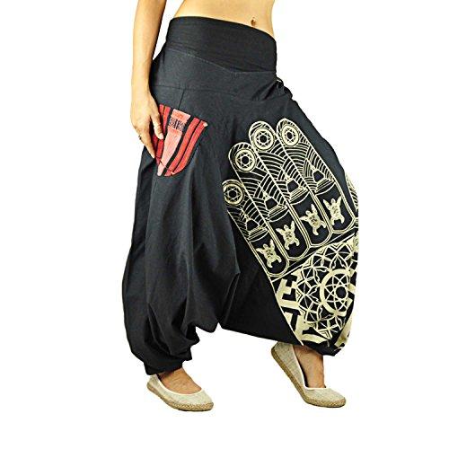 Virblatt pantalones bombachos para las mujeres y los hombres con impresión de alta calidad de un solo tamaño para todos los S-L ropa etnica en estilo étnico - Entspannt Negro