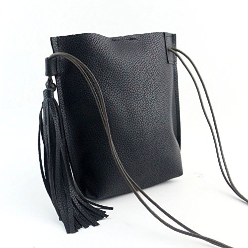 JD Million shop Fashion PU Leather Barrel Bag Tassel Crossbody Bag Dinner Party Clutch Mini (Leather Wrapped Barrel)