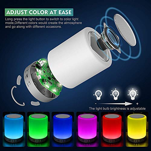Foreita Touch Lamp with Portable Bluetooth 4.0 Speakers,Color Changing Night Light Support MP3, Hands Free Call for Party, Camping,Bedroom,Living Room,Yoga