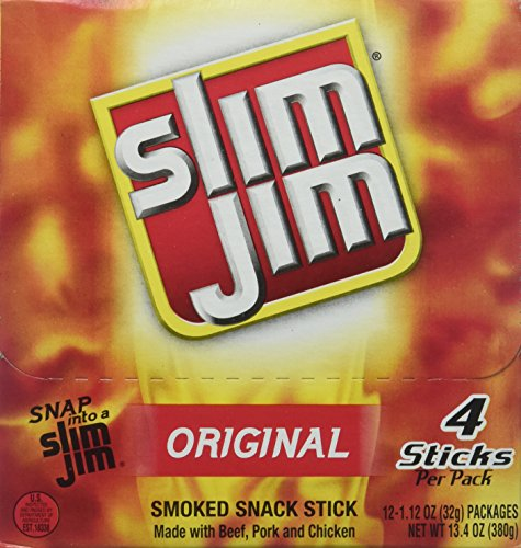 Slim Jim Original Smoked Snack Sticks, 1.12 Ounce (12 4-count Boxes)