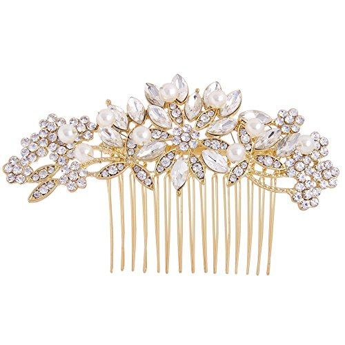 Fairy Moda Pearl Rhinestone Bridal Hair Comb Gold Wedding Day Headpiece