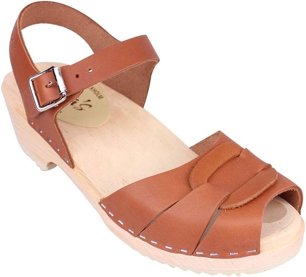 Low Heel Peep Toe Clogs in Tan Leather
