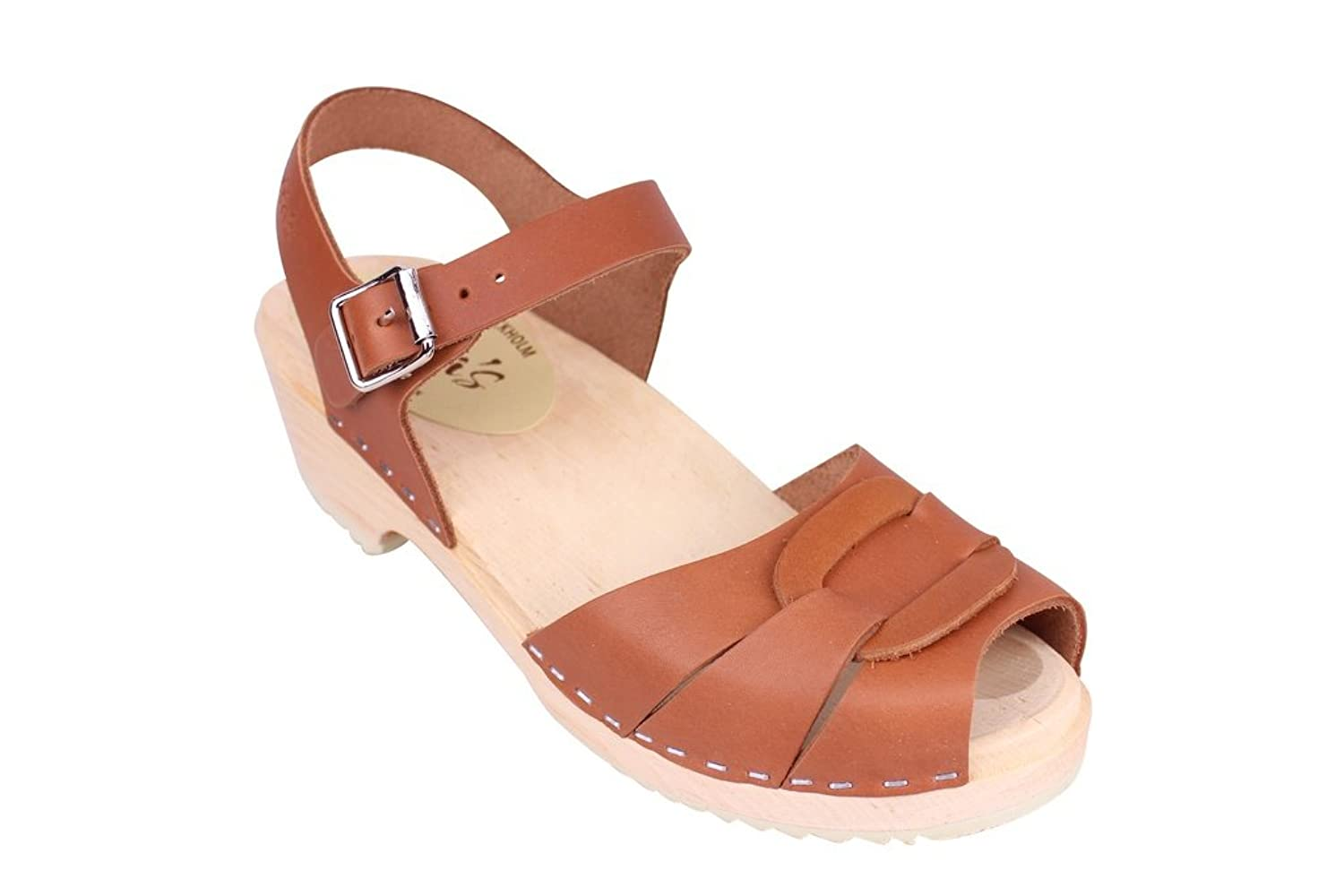 Lotta From Stockholm Swedish Clogs : Low Heel Peep Toe Clogs in Tan Leather