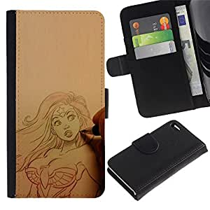 Leather Case Wallet Flip Card Pouch Soft Holder for Apple Iphone 4 / 4S / CECELL Phone case / / artist drawing sexy superhero woman /