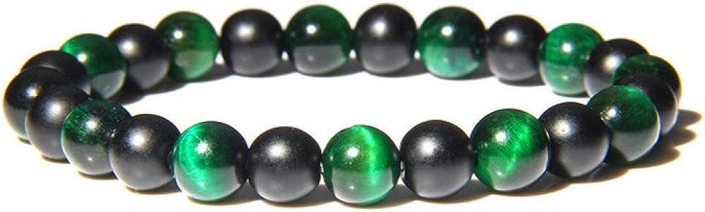 Pulsera de piedra hecha a mano con ónix negro natural de 8 mm, cuentas de ojo de tigre para mujeres y hombres, pulseras de yoga, parejas