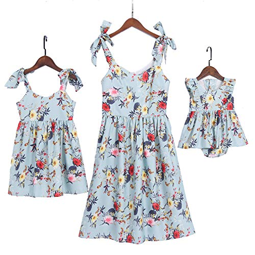 PopReal Mommy and Me Floral Printed Dresses Shoulder Straps Bowknot Chiffon Sleeveless Beach Mini Sundress Light Green]()