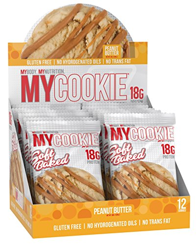 Pro Supps MYCOOKIE Delicious Soft Baked Protein Cookie, Peanut Butter, 18g Protein, 7g Sugar, Gluten-Free, No Trans Fat, Healthy On-The-Go Snack, 12 ct, Net Wt 1.94 oz.